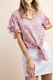 KORI AMERICA Ruffle Sleeve Top - Front full body
