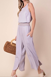 KORI AMERICA Smocked Waist Jumpsuit - Front full body