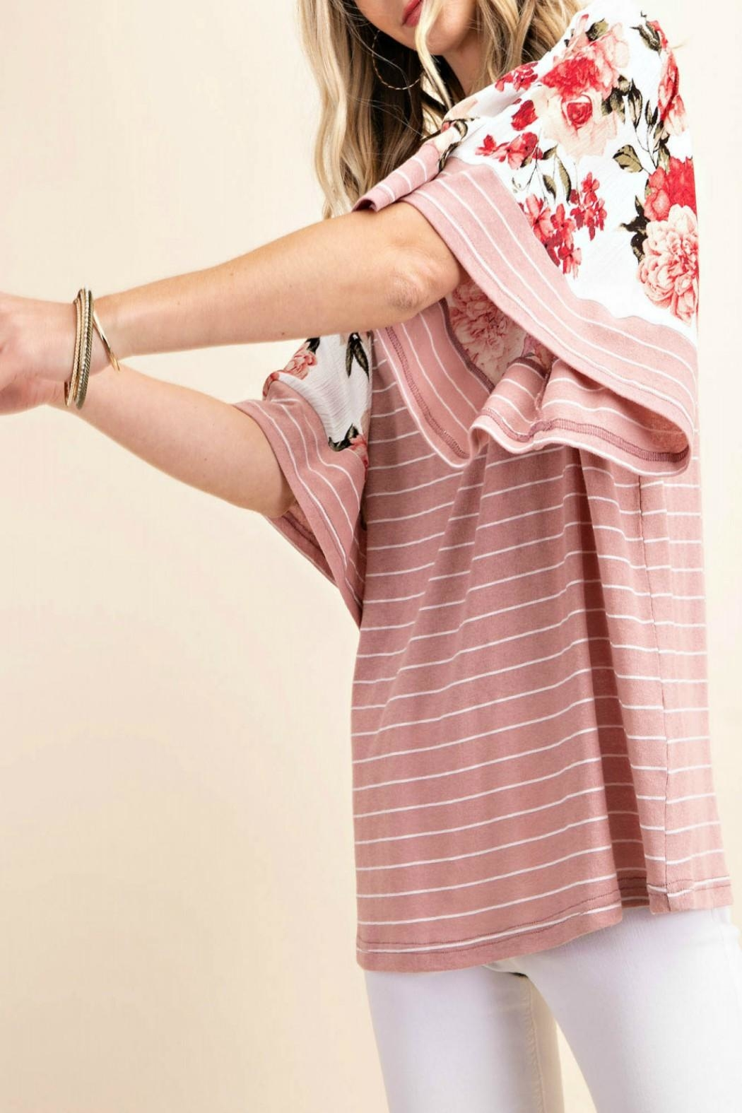 KORI AMERICA Striped Floral-Sleeve Top - Side Cropped Image