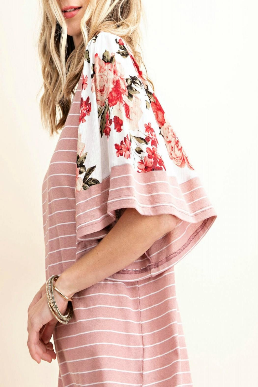 KORI AMERICA Striped Floral-Sleeve Top - Front Full Image