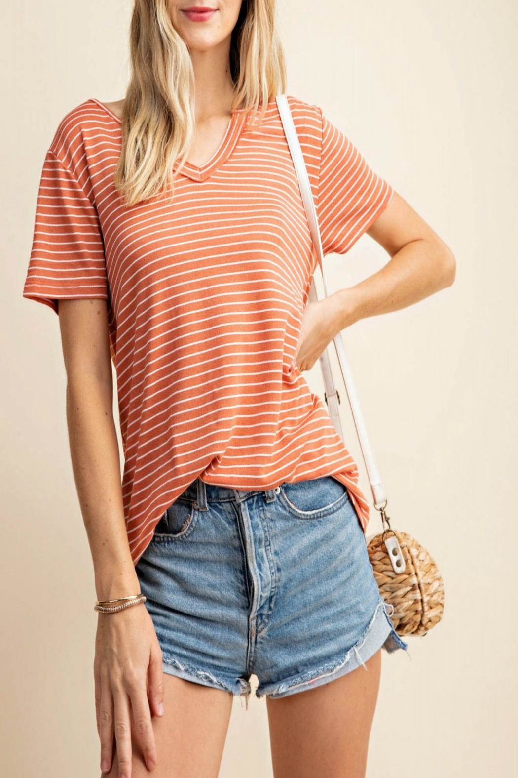 KORI AMERICA V-Neck Striped Top - Main Image