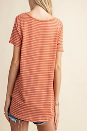 KORI AMERICA V-Neck Striped Top - Front full body