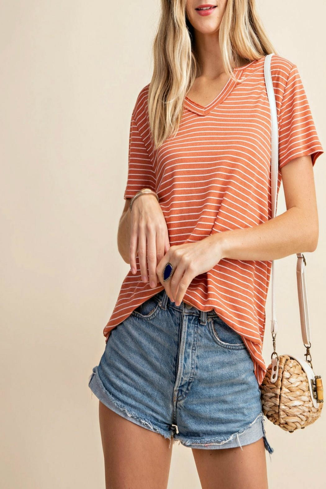KORI AMERICA V-Neck Striped Top - Back Cropped Image