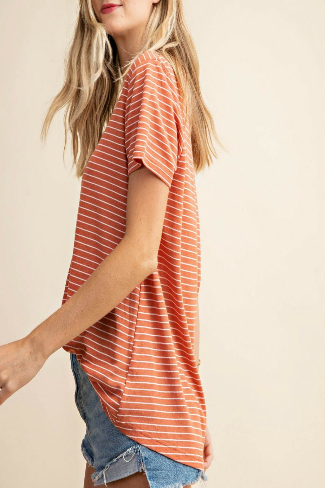 KORI AMERICA V-Neck Striped Top - Side Cropped Image