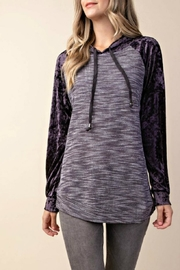 KORI AMERICA Velvet Mixed-Fabric Hoodie - Product Mini Image