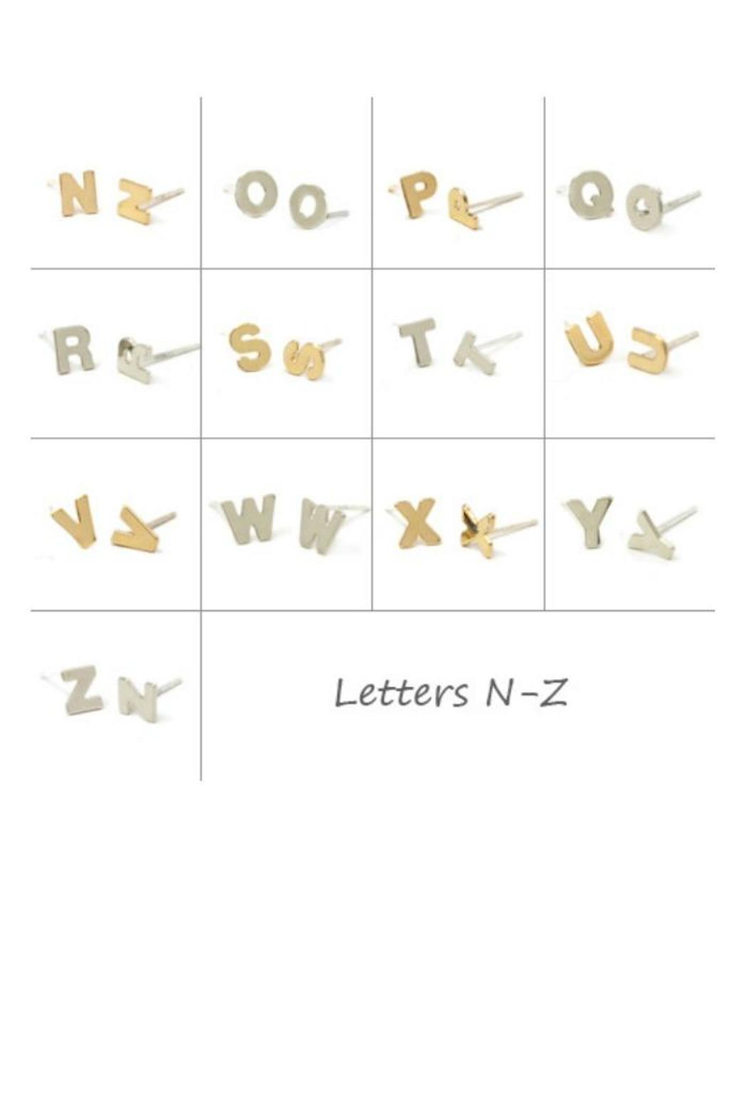 Kris Nations Tiny Initial Studs  Front Full Image