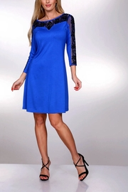 Krista Lee Blue Emb. Dress - Front cropped