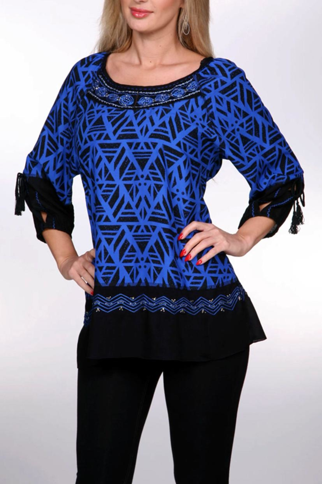 Krista Lee Blue Emb. Shirt - Main Image