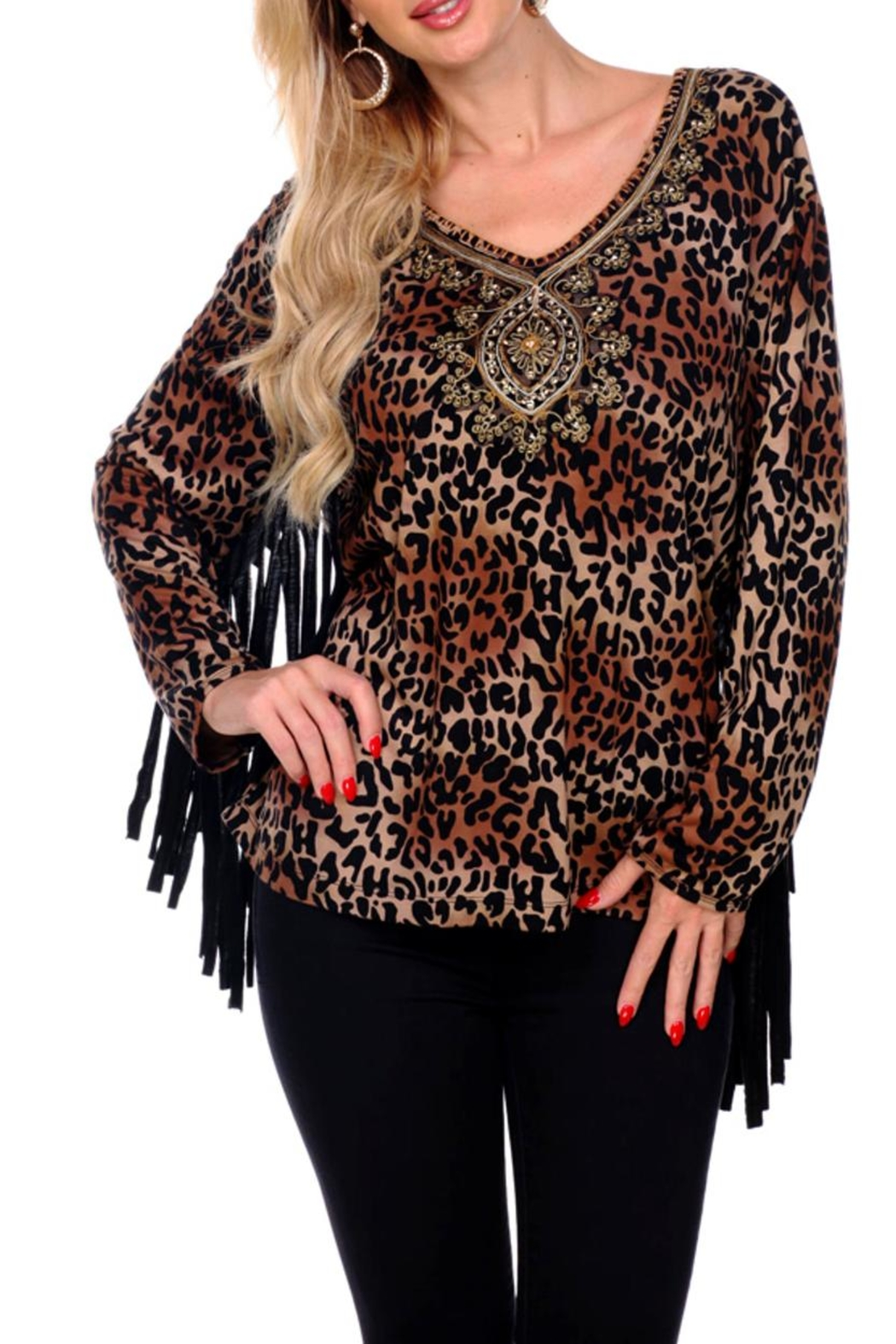 Krista Lee Leopard Fringe Top - Main Image