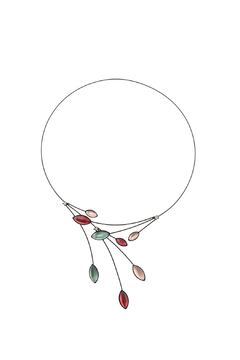 Kristina Collection Green & Red Wire Necklace - Product List Image