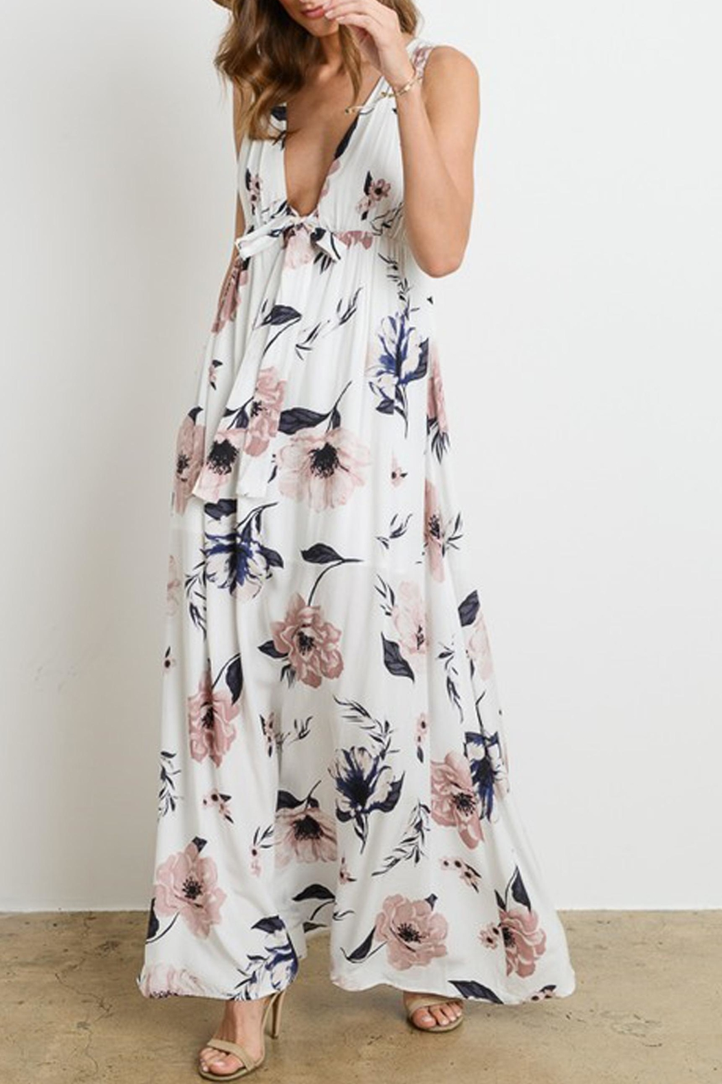 Charme U Kristy Tie-Front Maxi - Side Cropped Image