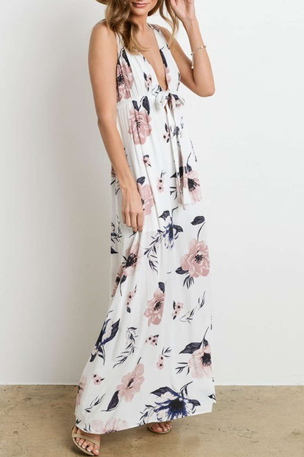 Charme U Kristy Tie-Front Maxi - Back Cropped Image