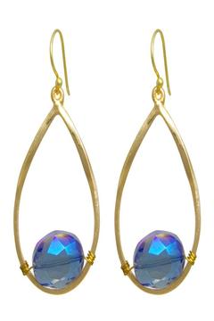KTCollection Teardrop Gemstone Earrings - Alternate List Image