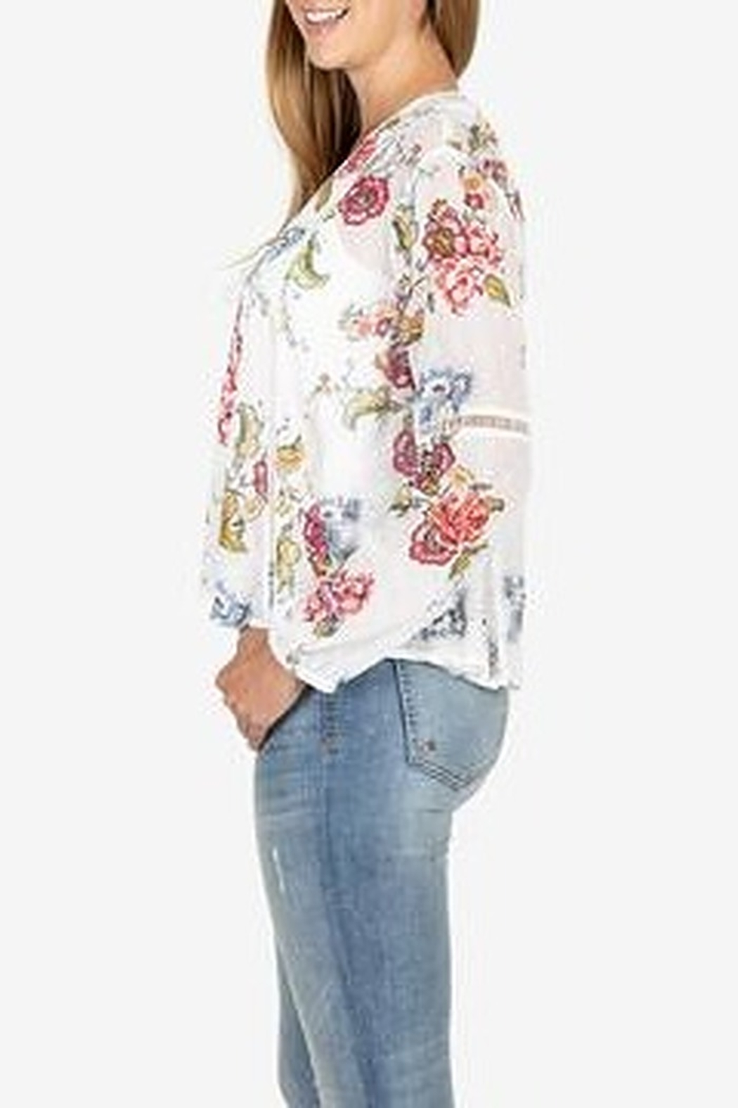 KUT from the Cloth Kut from the Kloth Becca Floral Tassel Tie Blouse - Side Cropped Image