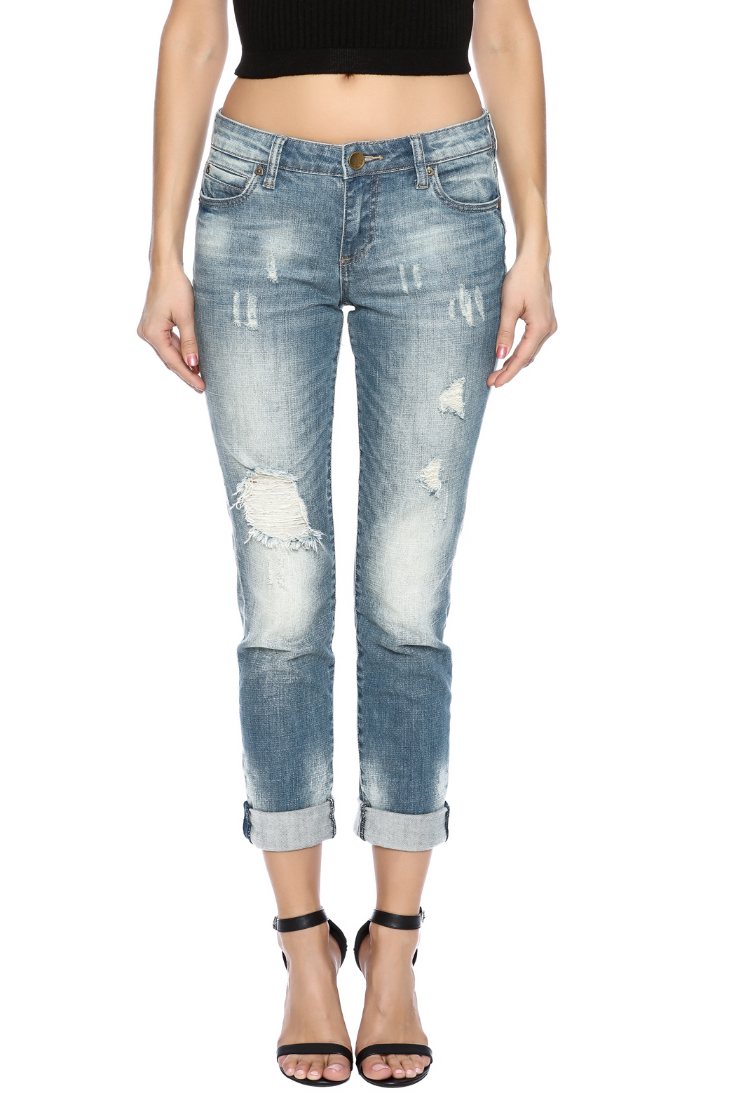 Kut from the Kloth Distressed Boyfriend Jean - Side Cropped Image