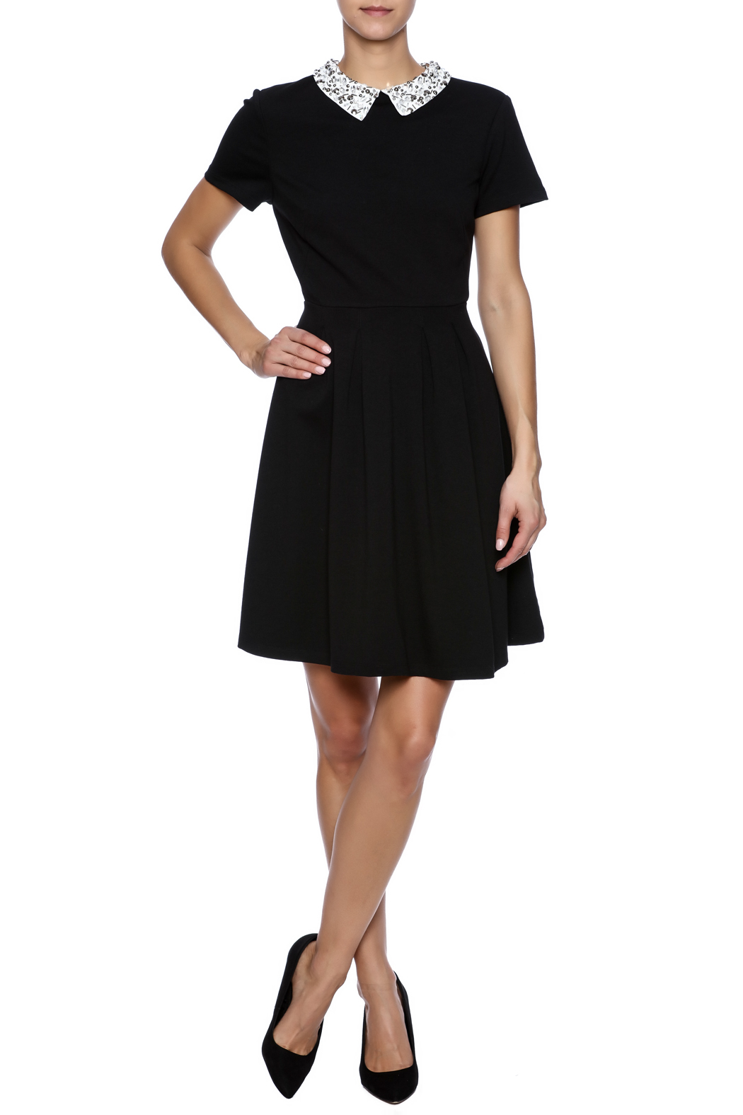 Kut from the Kloth Gem Collar Dress - Front Full Image