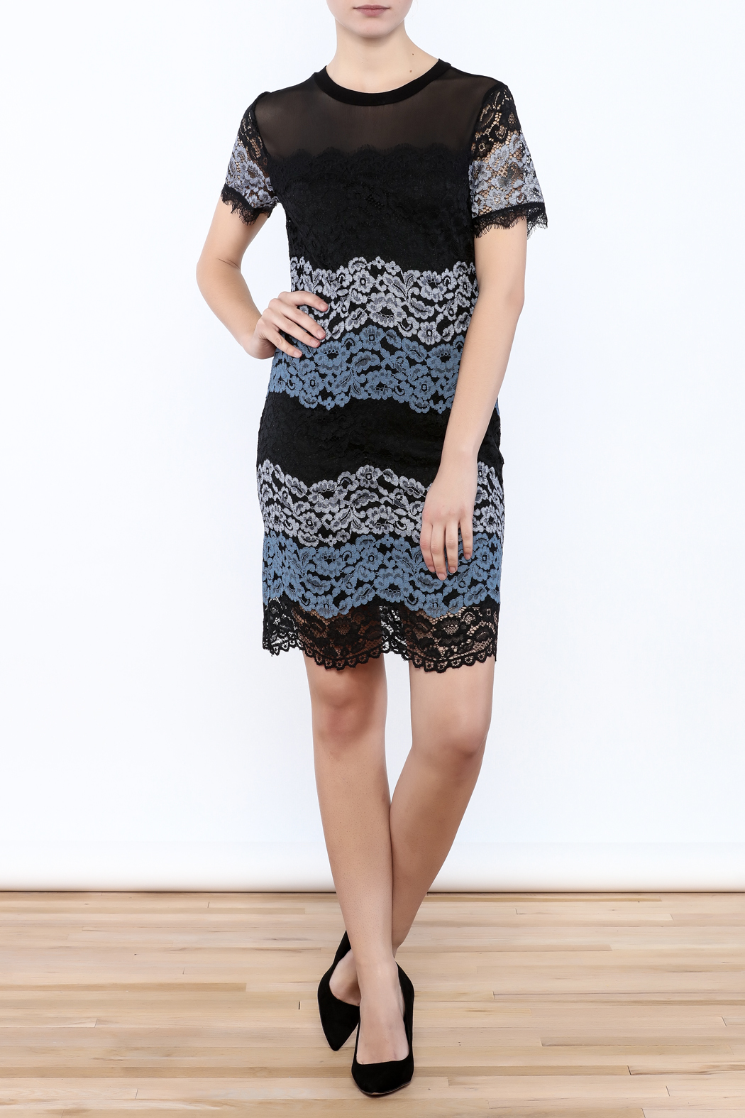 Kut from the Kloth Lace Color Block Dress - Front Full Image