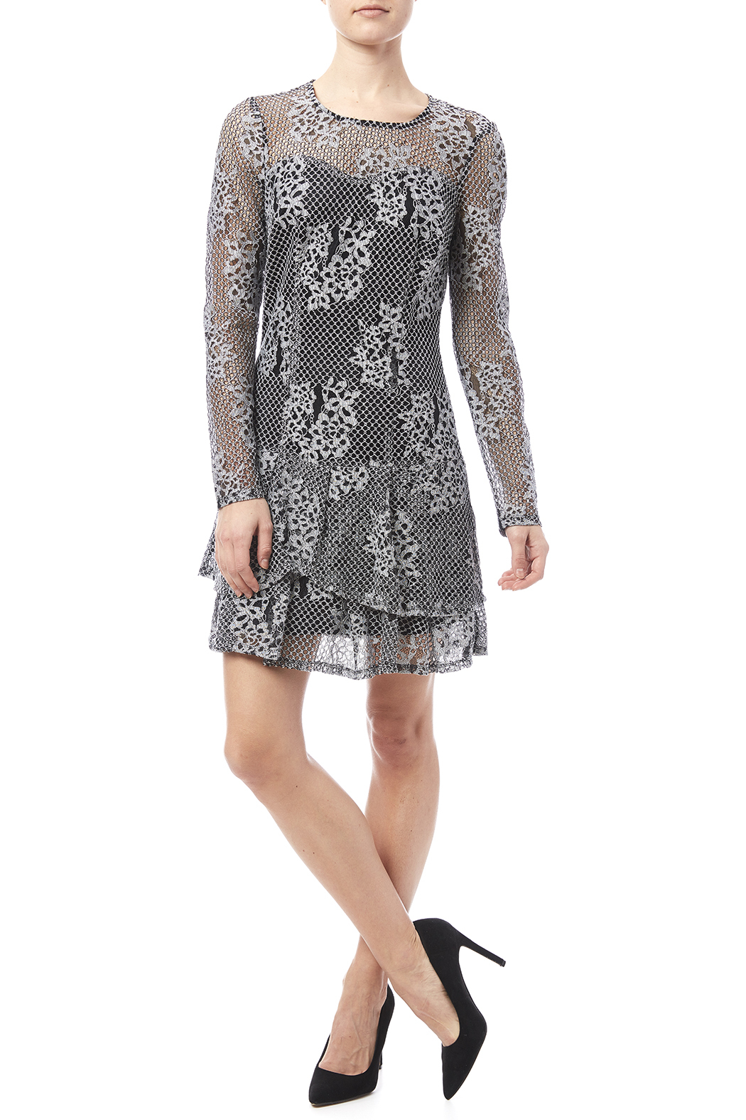 Kut from the Kloth Lace Flare Dress - Front Full Image