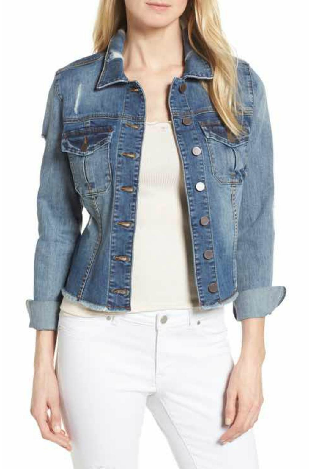 Kut from the Kloth Distressed Denim Jacket - Front Cropped Image