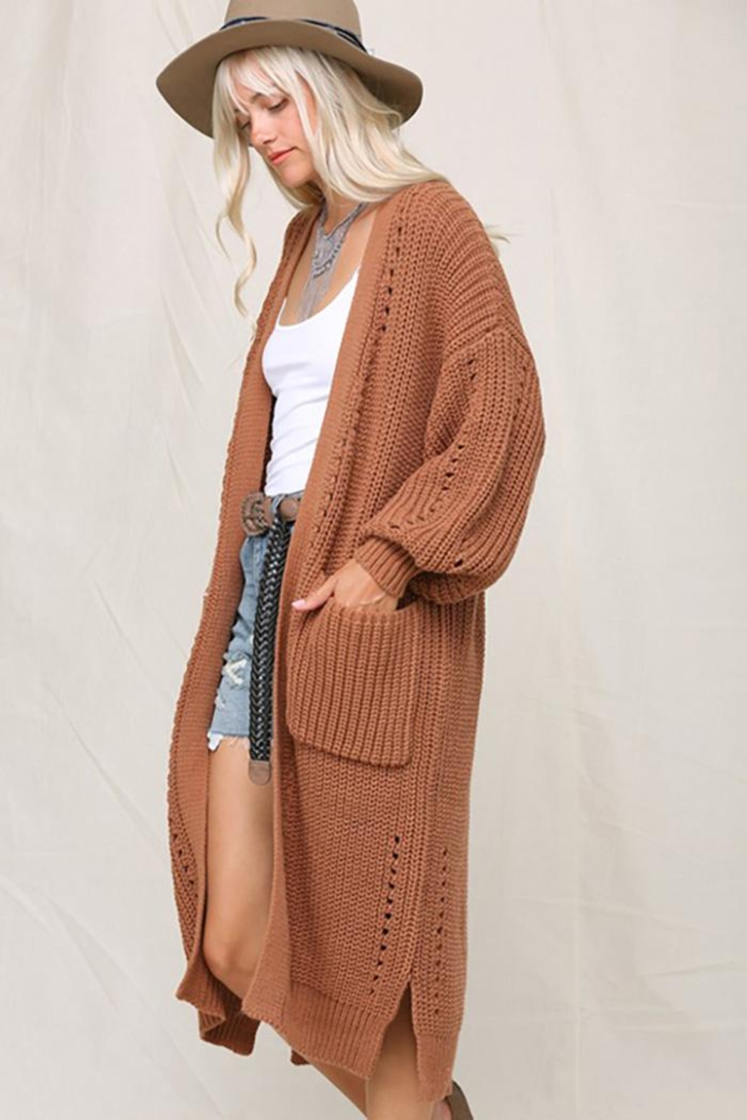 KyeMi Open Front Long Sweater Cardigan - Front Full Image