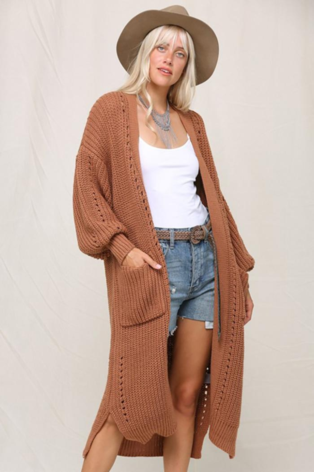 KyeMi Open Front Long Sweater Cardigan - Back Cropped Image