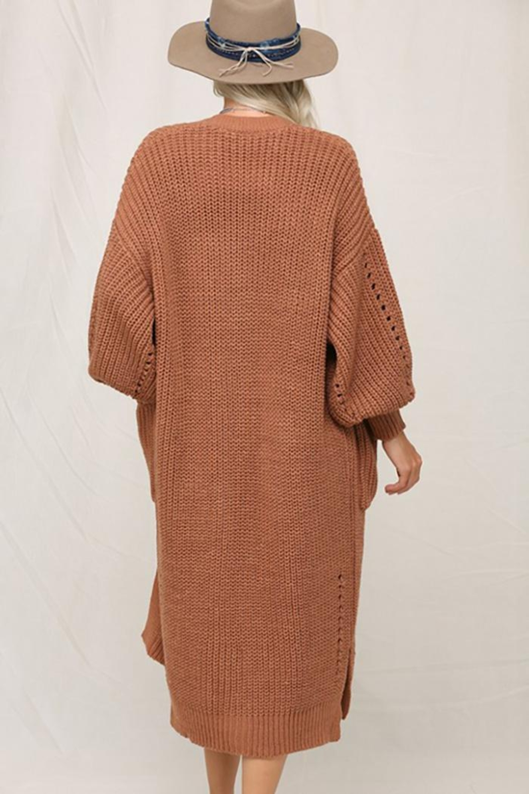 KyeMi Open Front Long Sweater Cardigan - Side Cropped Image
