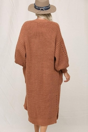 KyeMi Open Front Long Sweater Cardigan - Side cropped