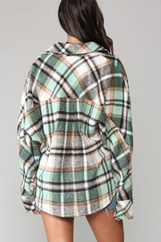 KyeMi Plaid Print And Button Front Top - Front full body