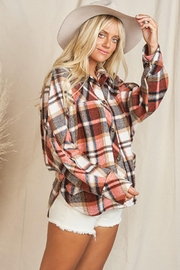 KyeMi Plaid Print And Button Front Top - Other