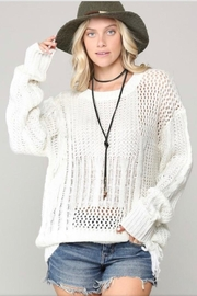 KyeMi White Fringe Sweater - Product Mini Image