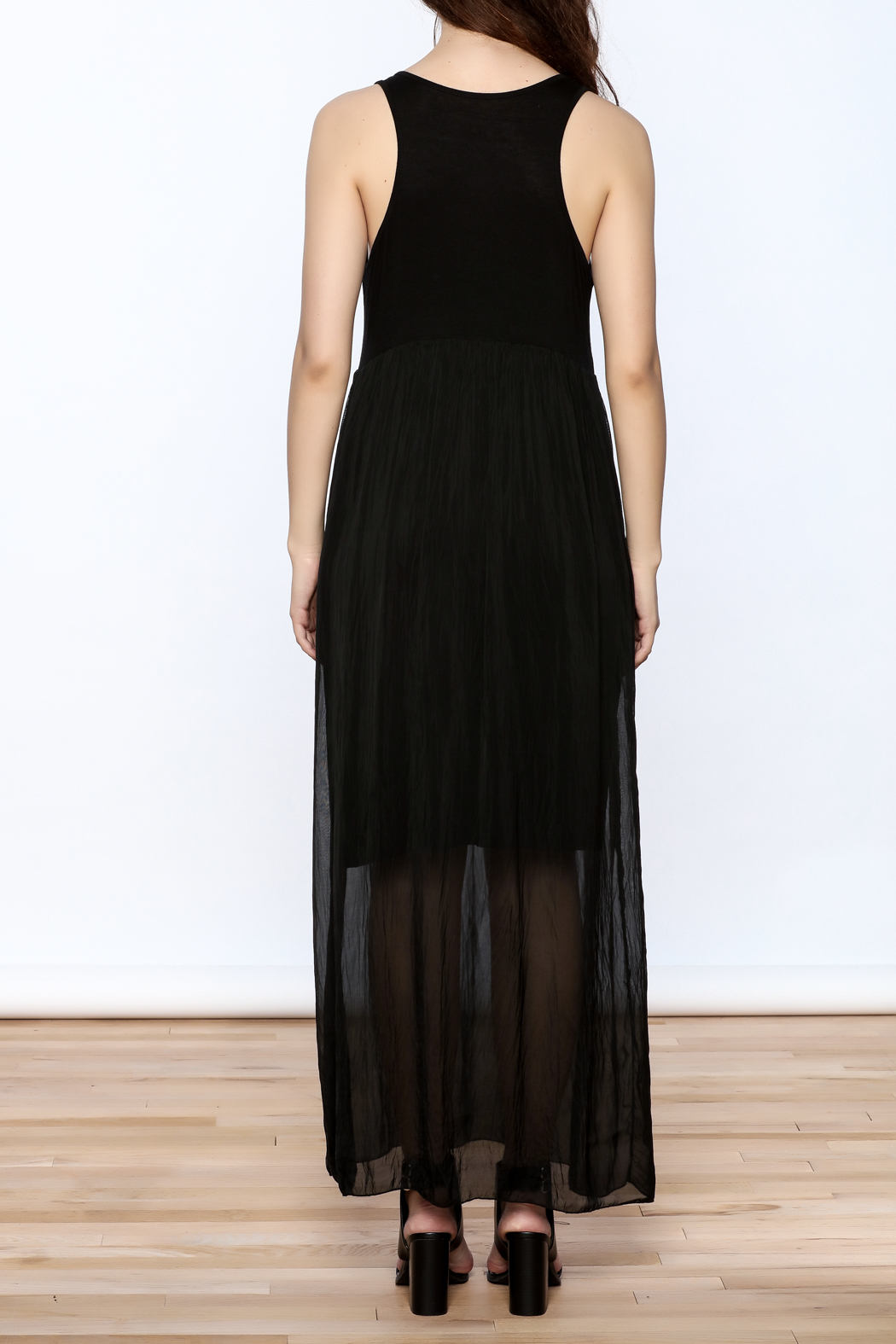 L & C Fashion Silk Maxi Dress - Back Cropped Image