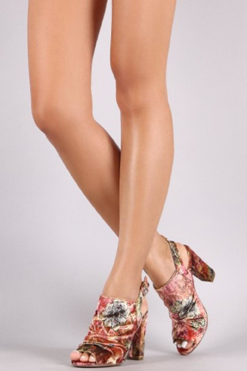 L.A. Shoe King Velour Embroidered Heels - Front Full Image