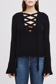 L'Agence Black Lace Up Sweater - Product Mini Image