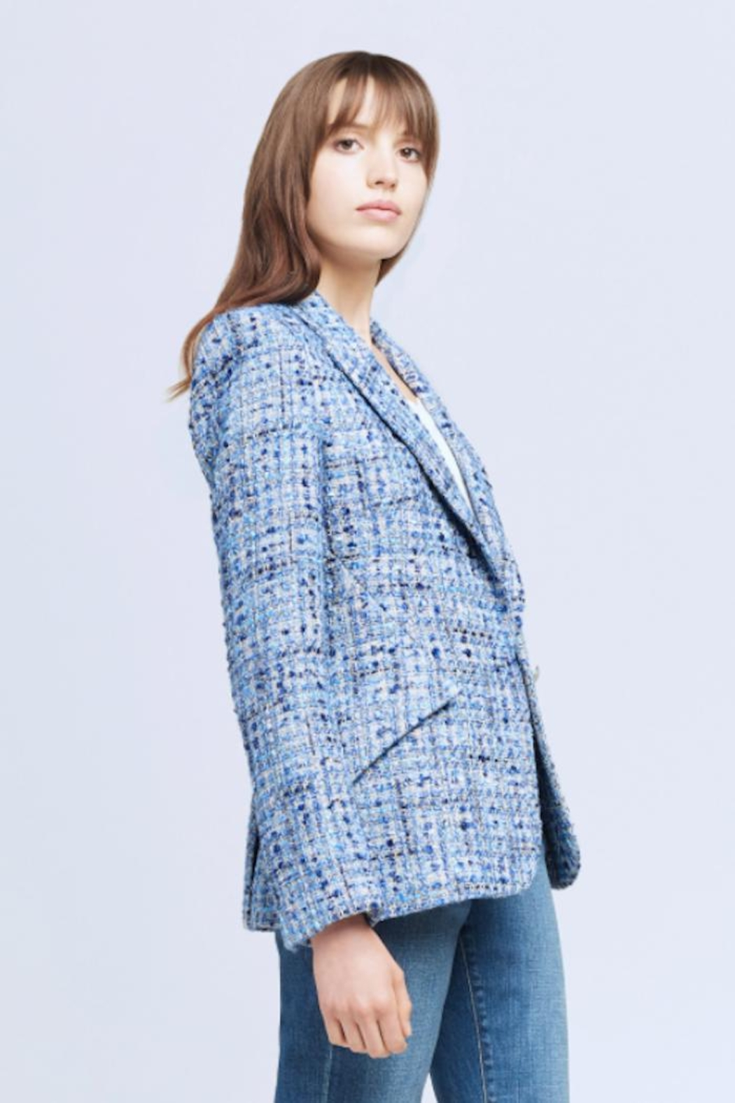 L'Agence Chamberlain Tweed Blazer - Side Cropped Image