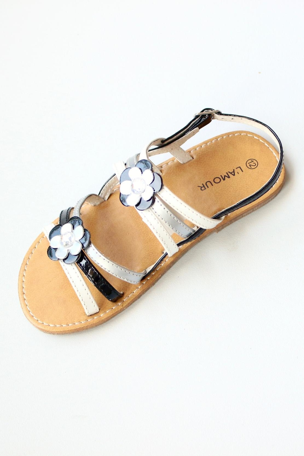 L'Amour Strappy Flower Sandals - Main Image