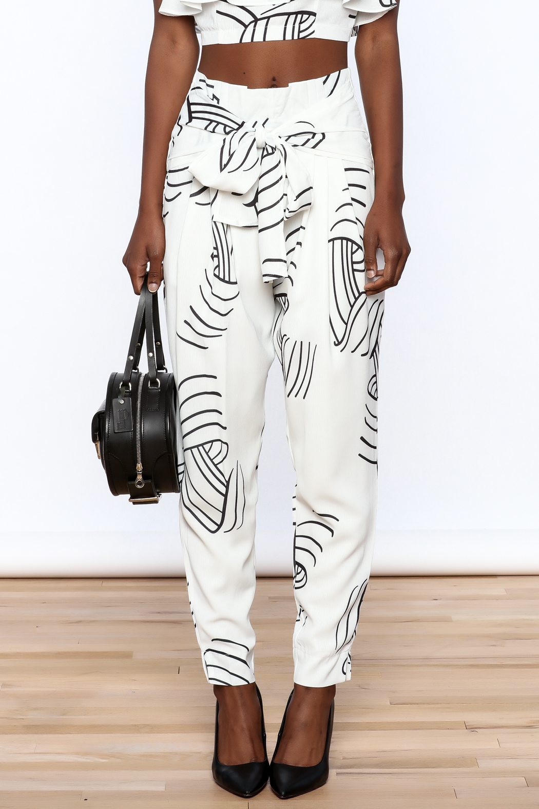 L'atiste White Abstract Slim Pants - Side Cropped Image