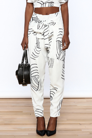L'atiste White Abstract Slim Pants - Side cropped