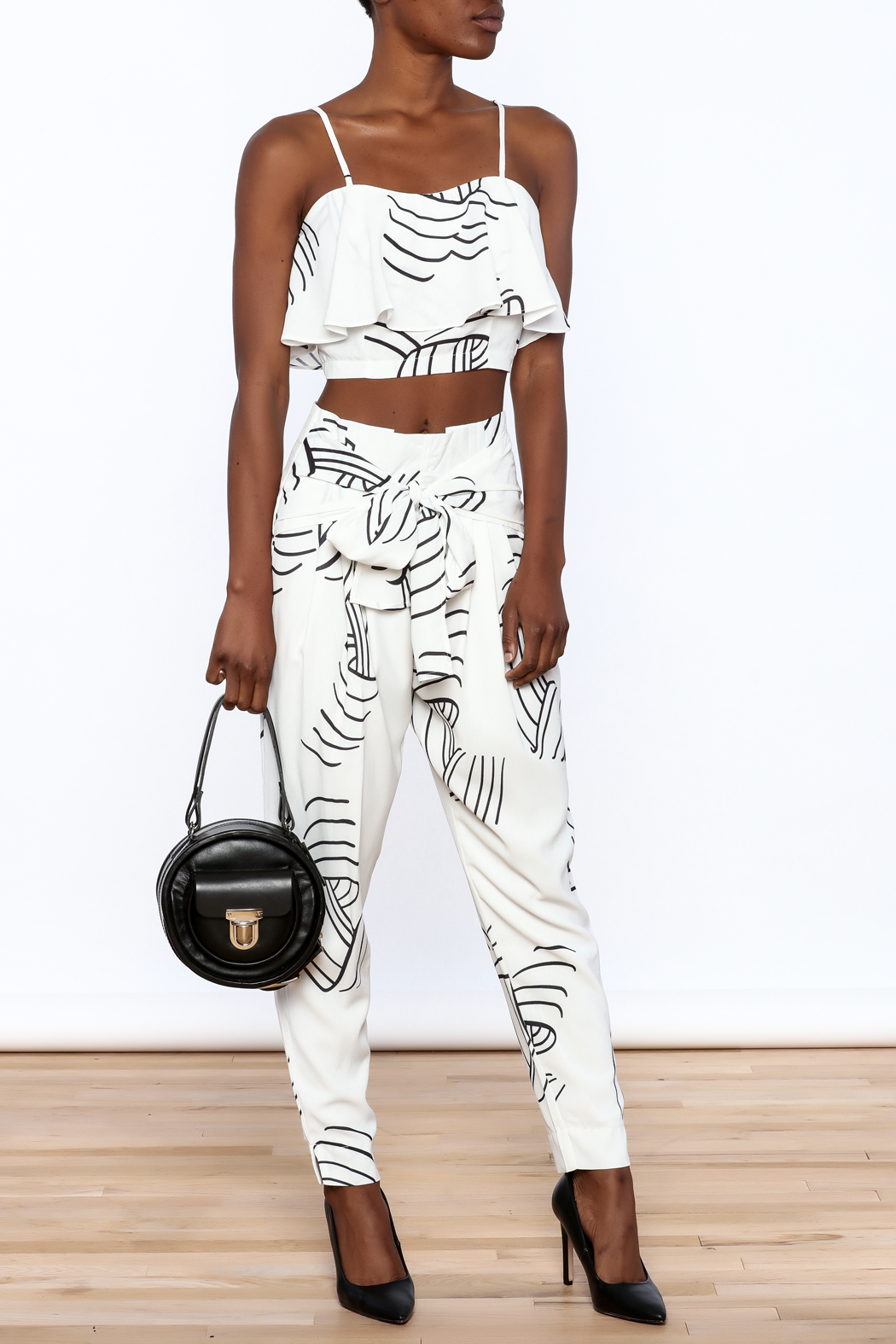 L'atiste White Abstract Slim Pants - Front Full Image