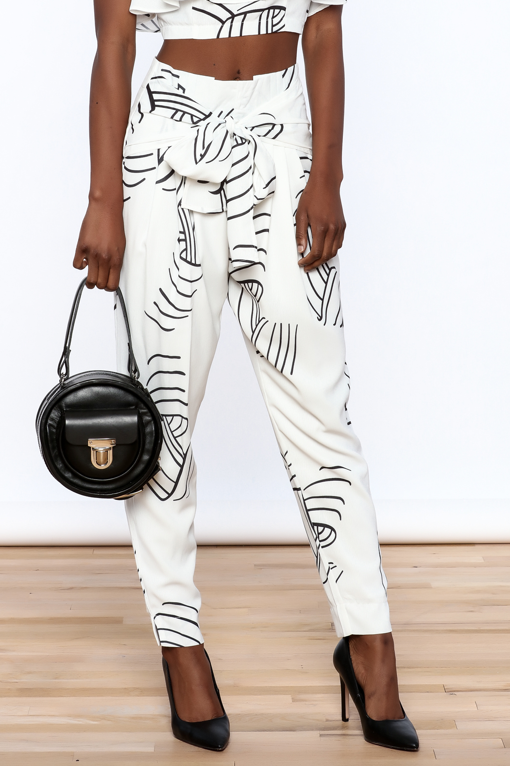 L'atiste White Abstract Slim Pants - Main Image