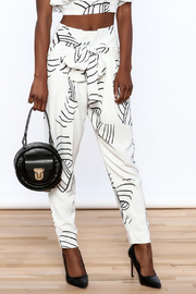 L'atiste White Abstract Slim Pants - Front cropped