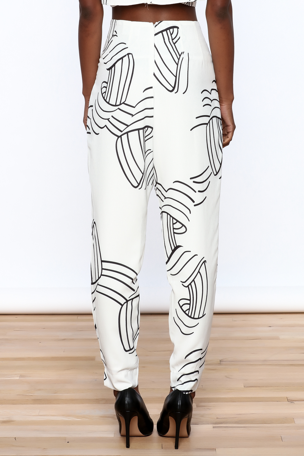 L'atiste White Abstract Slim Pants - Back Cropped Image