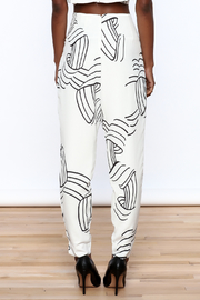 L'atiste White Abstract Slim Pants - Back cropped