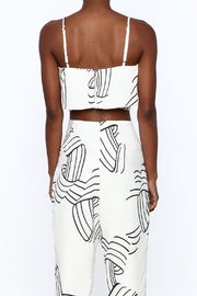 L'atiste White Abstract Sleeveless Top - Back cropped