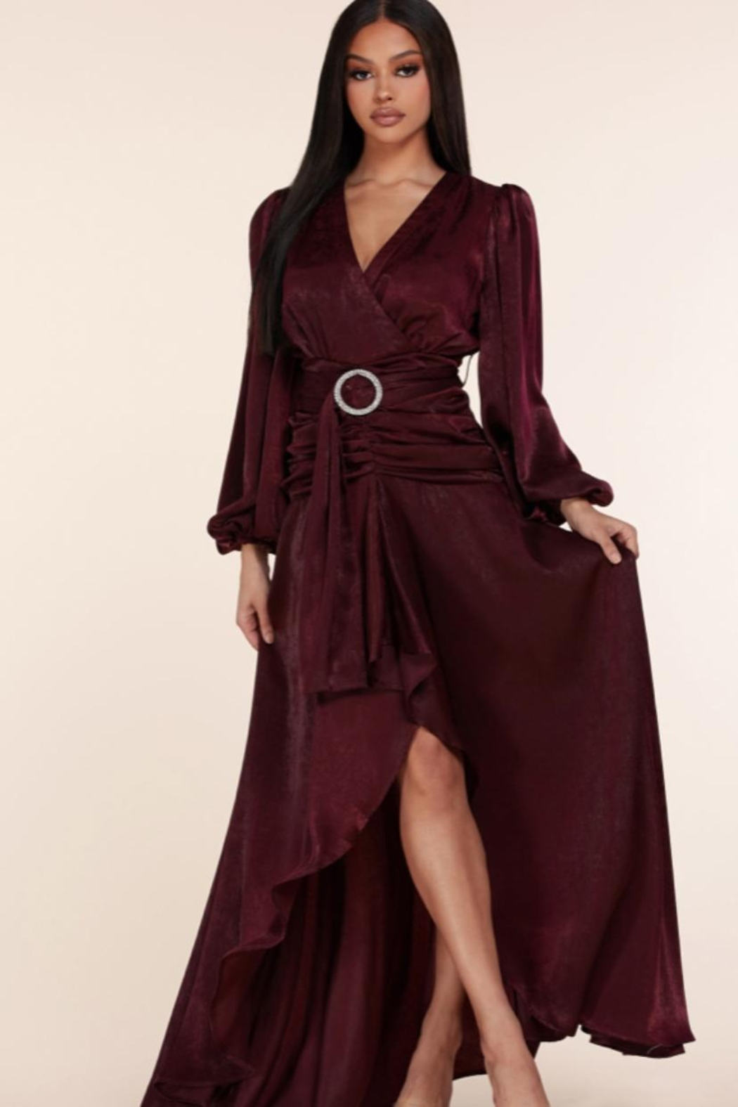 L'atiste Belted Burgundy Maxi - Main Image