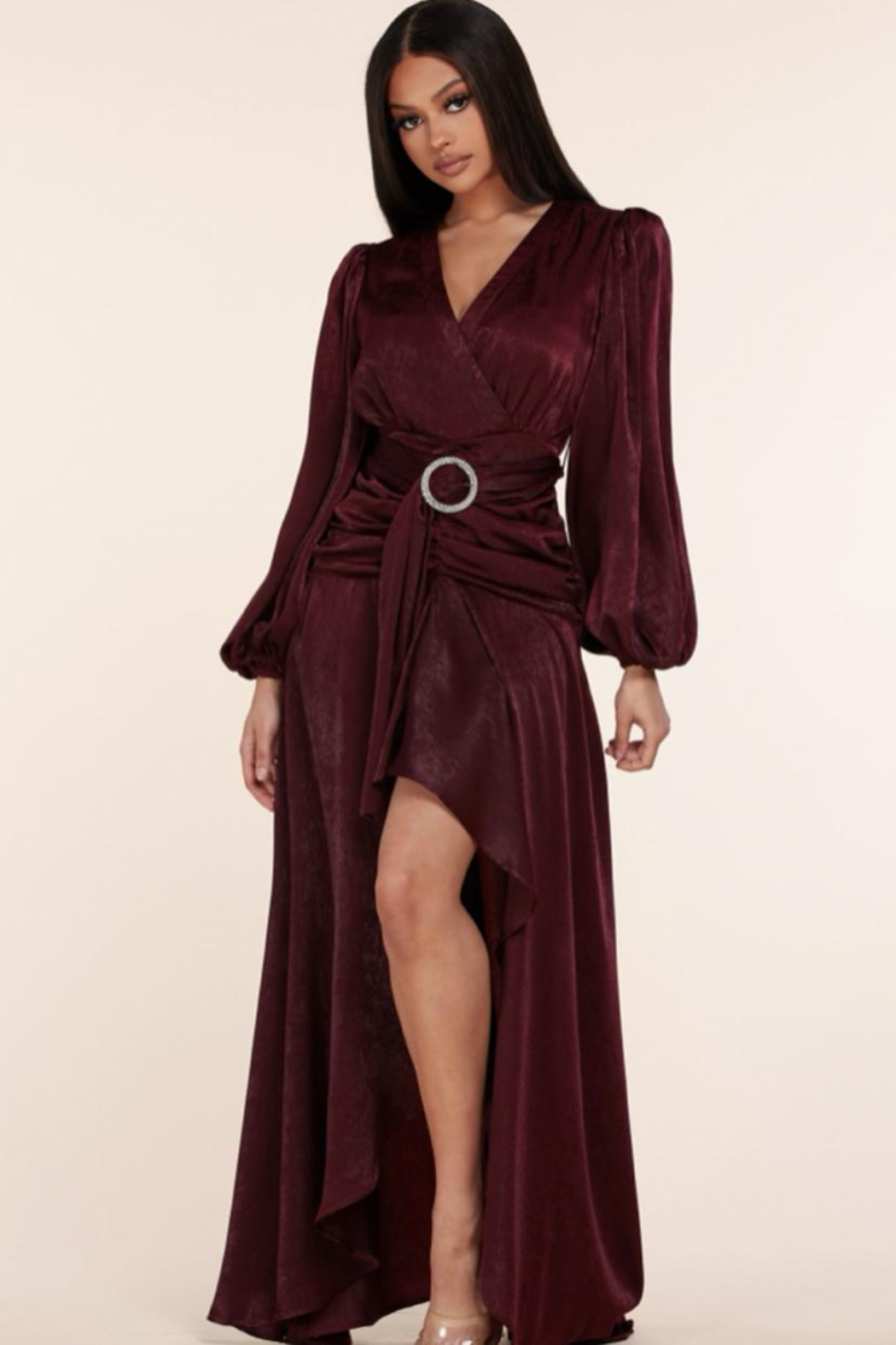L'atiste Belted Burgundy Maxi - Front Full Image