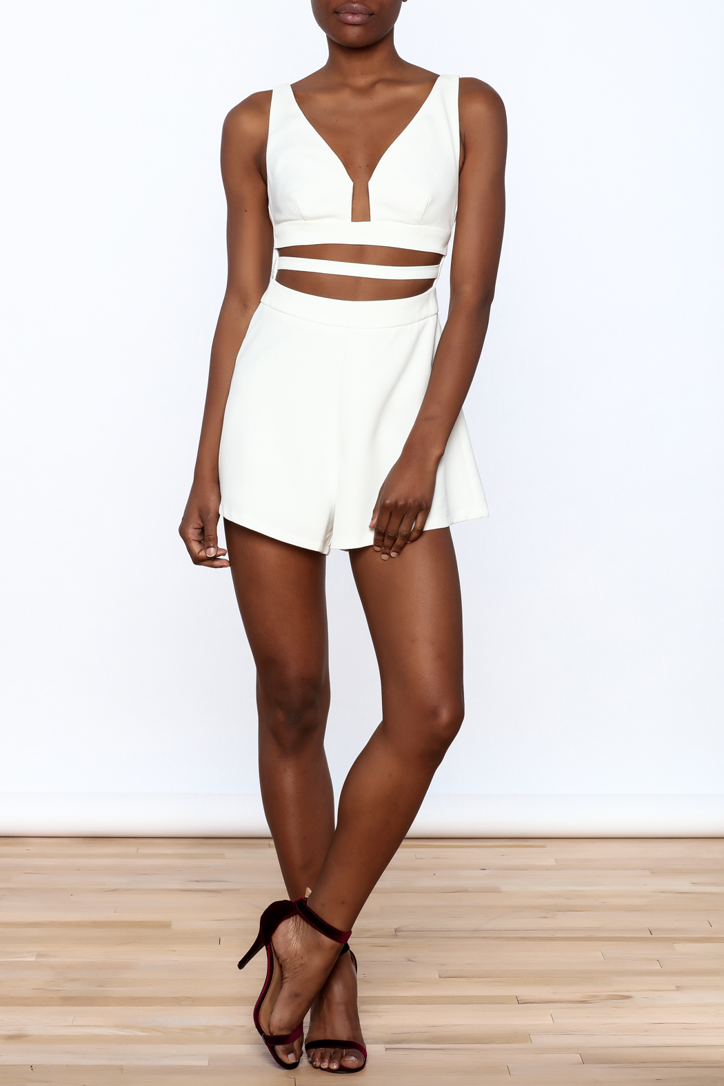L'atiste White Cut Out Romper - Front Full Image