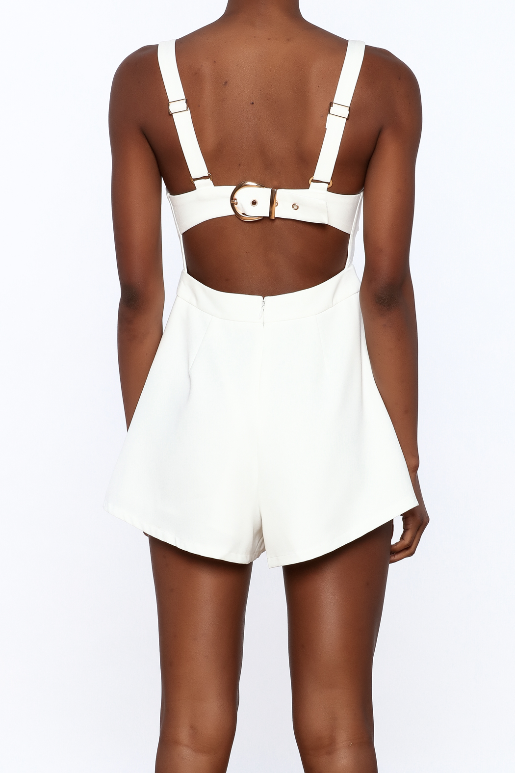 L'atiste White Cut Out Romper - Back Cropped Image