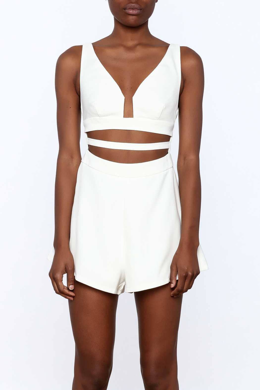 L'atiste White Cut Out Romper - Side Cropped Image