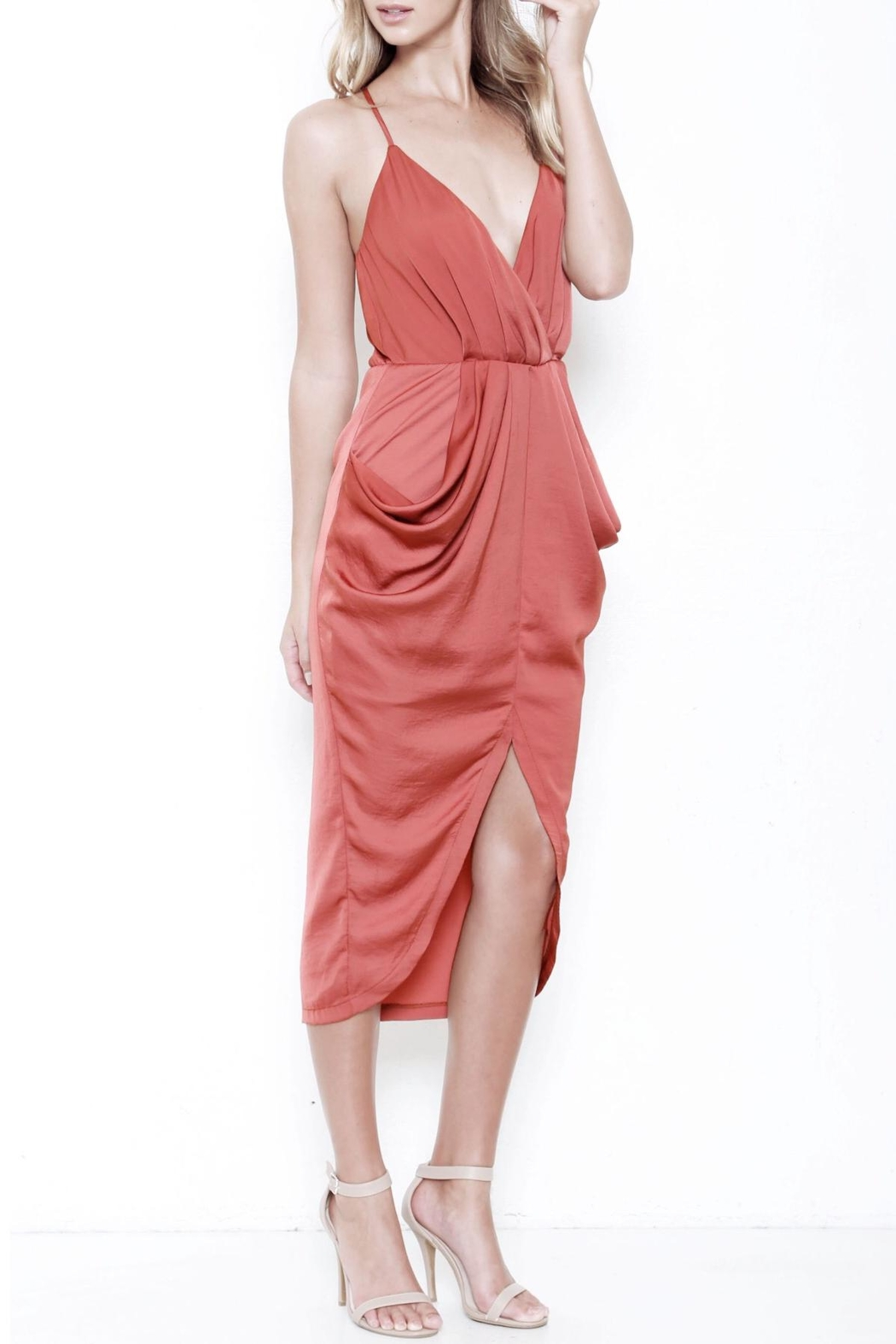 L'atiste Draped Midi Dress - Front Full Image