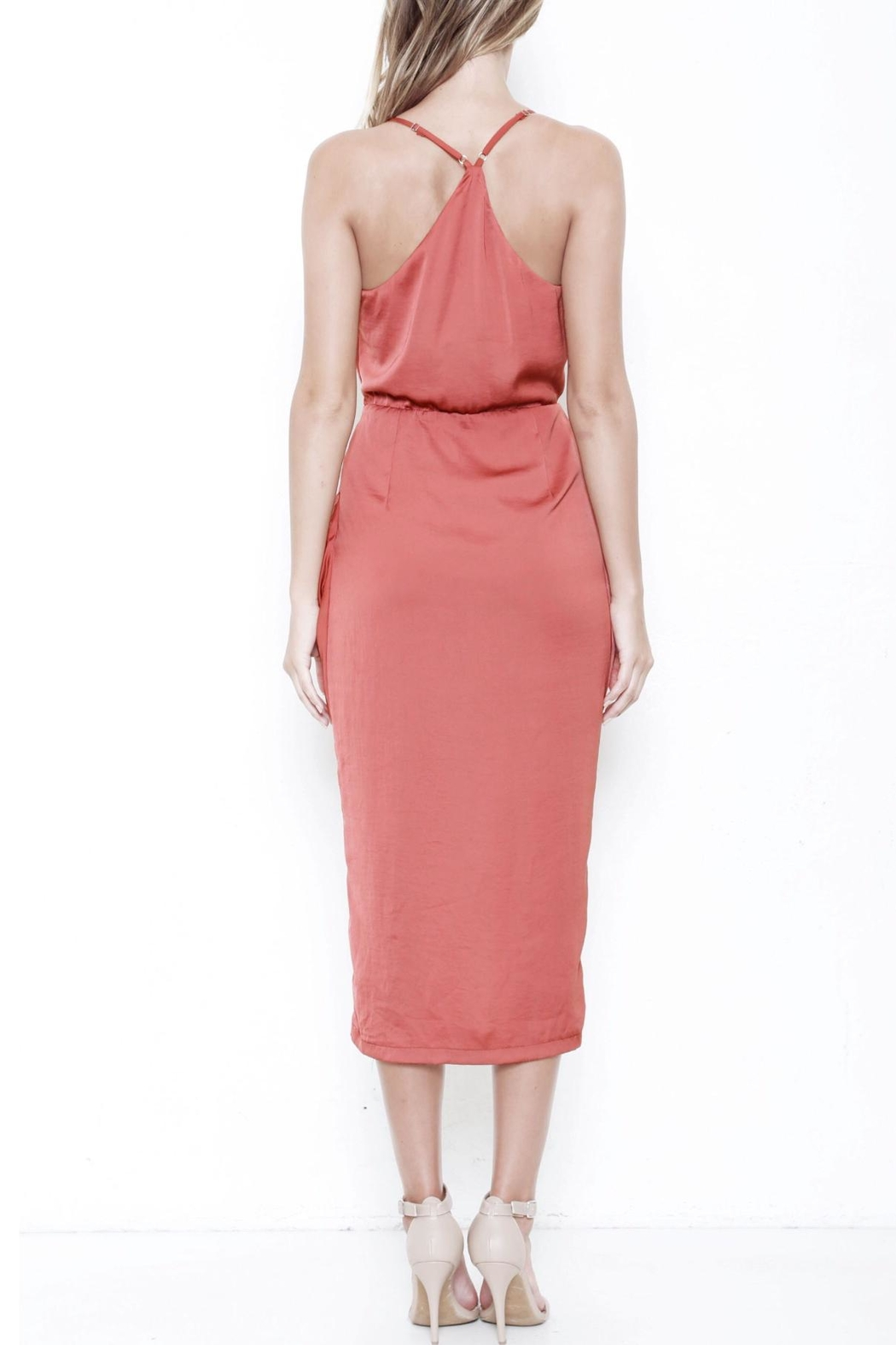 L'atiste Draped Midi Dress - Side Cropped Image